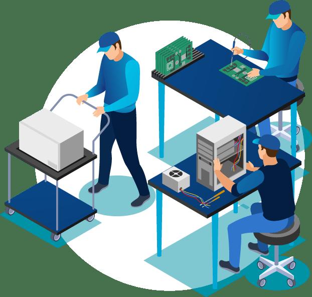 Ilustração técnicos de informática